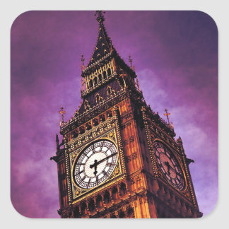 Purple Big Ben Square Sticker