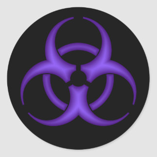 Purple Biohazard Symbol Sticker