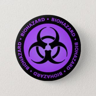 Purple Biohazard Warning 6 Cm Round Badge