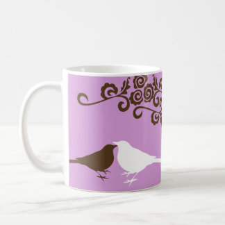 Purple bird custom name bridal gift coffee mug