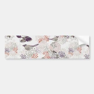 Purple birds and flowers wallpaper bumper sticker