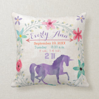 Purple Birth Stats Girl Magical Creatures Unicorn Throw Pillow