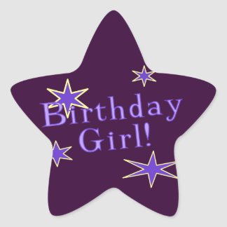 Purple Birthday Girl Star Sticker