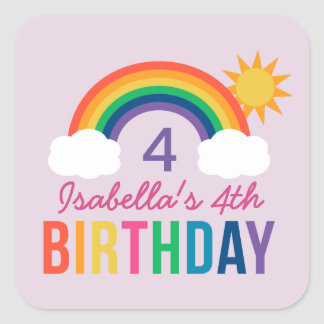 Purple Birthday Party Favor | Rainbow Colors Square Sticker