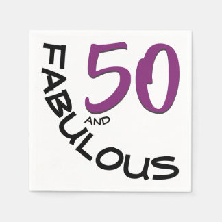 """Purple & Black """"50 and Fabulous"""" Birthday Party Disposable Serviettes"""