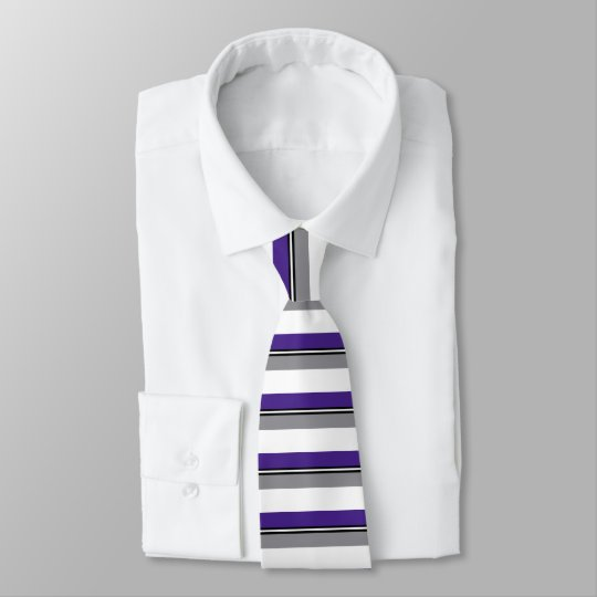 Purple Black and Silver Banded Tie
