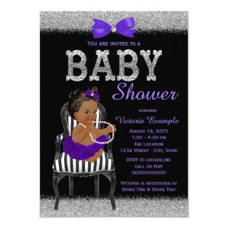 Purple Black and Silver Ethnic Girl Baby Shower 11 Cm X 16 Cm Invitation Card