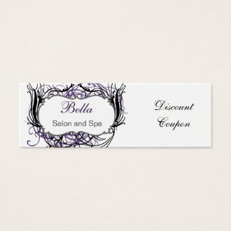 purple,black and white Chic discount coupon Mini Business Card