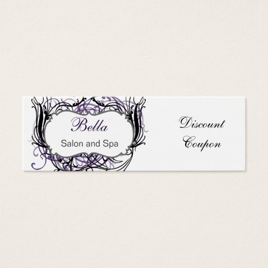 purple,black and white Chic discount coupon Mini Business