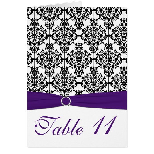 Purple, Black and White Damask Table Number Card