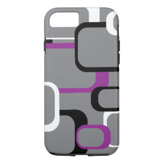 Purple Black and White Retro Squares Gray iPhone 8/7 Case