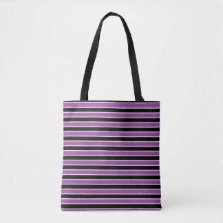 Purple, Black and White Stripes Tote Bag