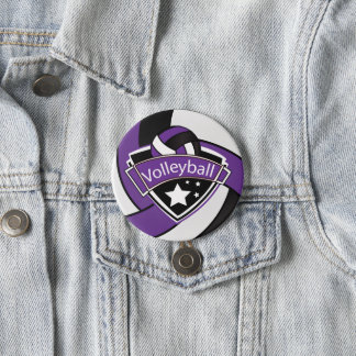 Purple, Black and White Volleyball 7.5 Cm Round Badge