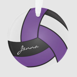 Purple, Black and White Volleyball | DIY Text Ornament