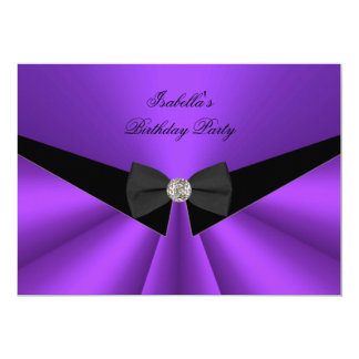 Purple Black Bow Tie Birthday Party Diamond 2 13 Cm X 18 Cm Invitation Card