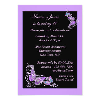 Purple black butterfly floral PERSONALIZE Card
