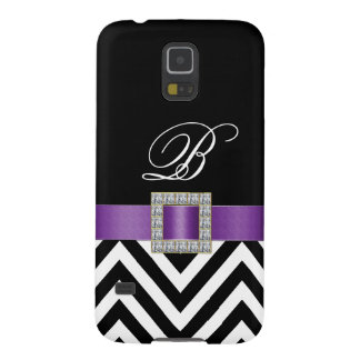 PURPLE BLACK CHEVRON MONOGRAM GALAXY S5 CASE