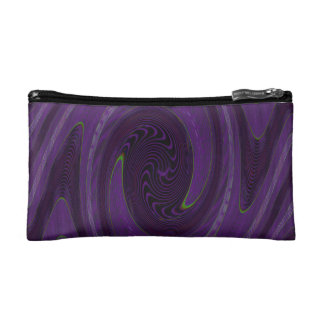 purple black circular abstract makeup bag