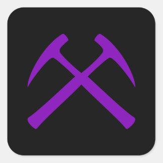 Purple & Black Crossed Rock Hammers Sticker