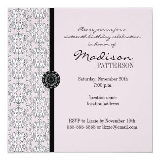 Purple & Black Damask Baroque Sweet 16 Party 13 Cm X 13 Cm Square Invitation Card