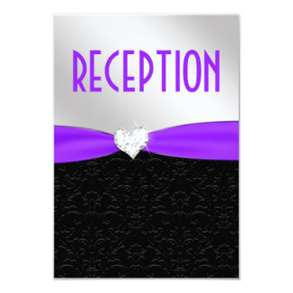 Purple Black Damask Diamond Reception Card 9 Cm X 13 Cm Invitation Card
