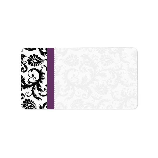 Purple & Black Damask Dots Shipping Address Label