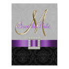 Purple Black Damask Gold Initial Save the Date Card