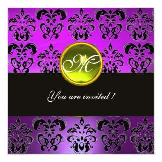PURPLE BLACK  DAMASK MONOGRAM, yellow topaz 13 Cm X 13 Cm Square Invitation Card