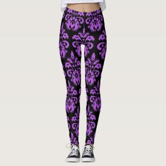 Purple black damask pattern beautiful leggings
