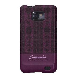 Purple black damask pattern samsung galaxy s2 cover