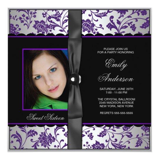 Purple Black Damask Photo Sweet 16 Party Card