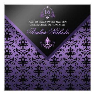 Purple & Black Damask Sweet 16 Invite