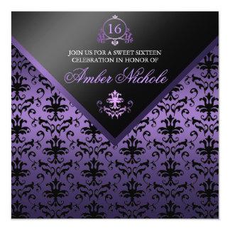 "Purple & Black Damask Sweet 16 Invite 5.25"" Square Invitation Card"