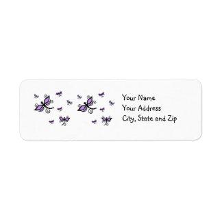Purple & black Dragonflies on address label