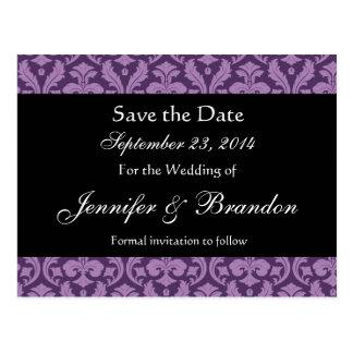 Purple Black Feather Damask Save Date Postcard