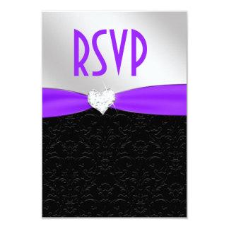 Purple Black Floral Damask Diamond Heart RSVP 9 Cm X 13 Cm Invitation Card