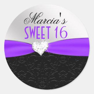 Purple Black Floral Damask Diamond Heart Seal Round Sticker
