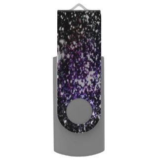 Purple & Black Glitter USB Flash Drive