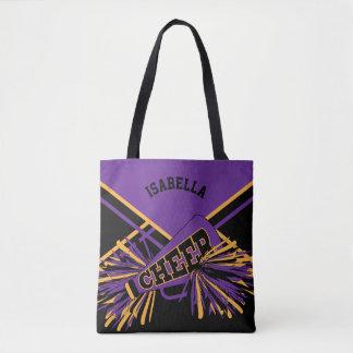 Purple, Black & Gold Cheerleader Design Tote Bag