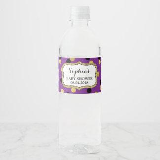 Purple Black Gold Confetti Baby Shower Water Bottle Label