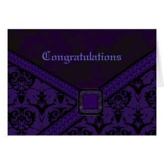 Purple & Black Goth Lace Wedding Card