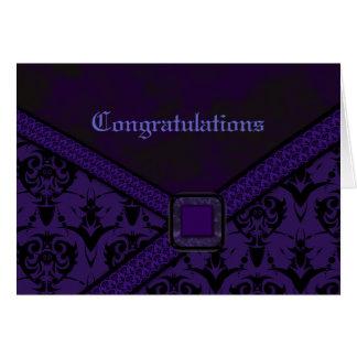 Purple & Black Goth Lace Wedding Card