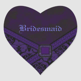 Purple & Black Goth Lace Wedding Heart Sticker