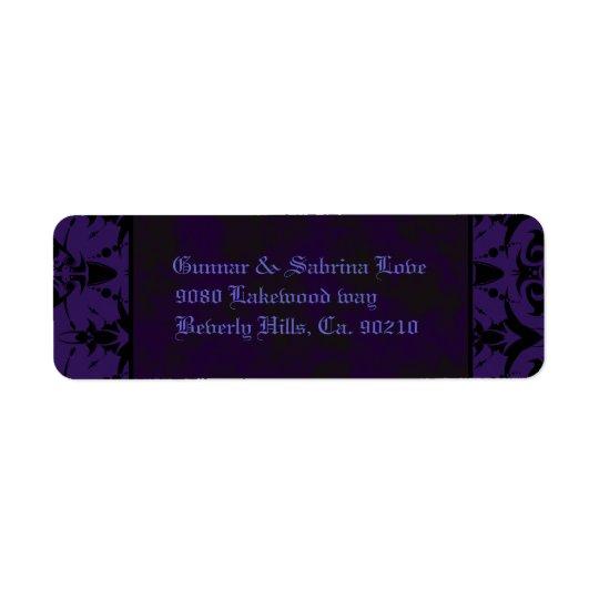 Purple & Black Goth Lace Wedding Return Address Label
