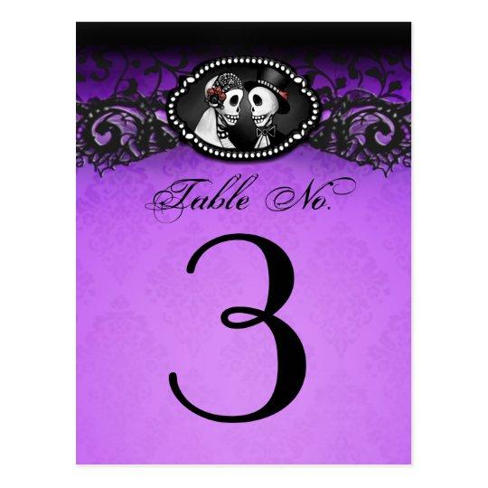 Purple & Black Halloween Skeletons Table Number Postcard