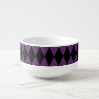Purple Black Harlequin Pattern Soup Mug