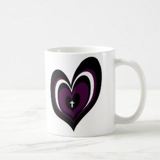 Purple & black heart with cross coffee mug