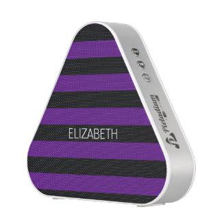 Purple Black Horiz Preppy Stripe Name Monogram