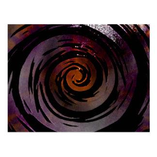 Purple & Black Hypnotic Swirl Art Postcard