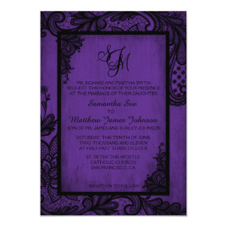 Purple Black Lace Gothic Wedding Invitation Card